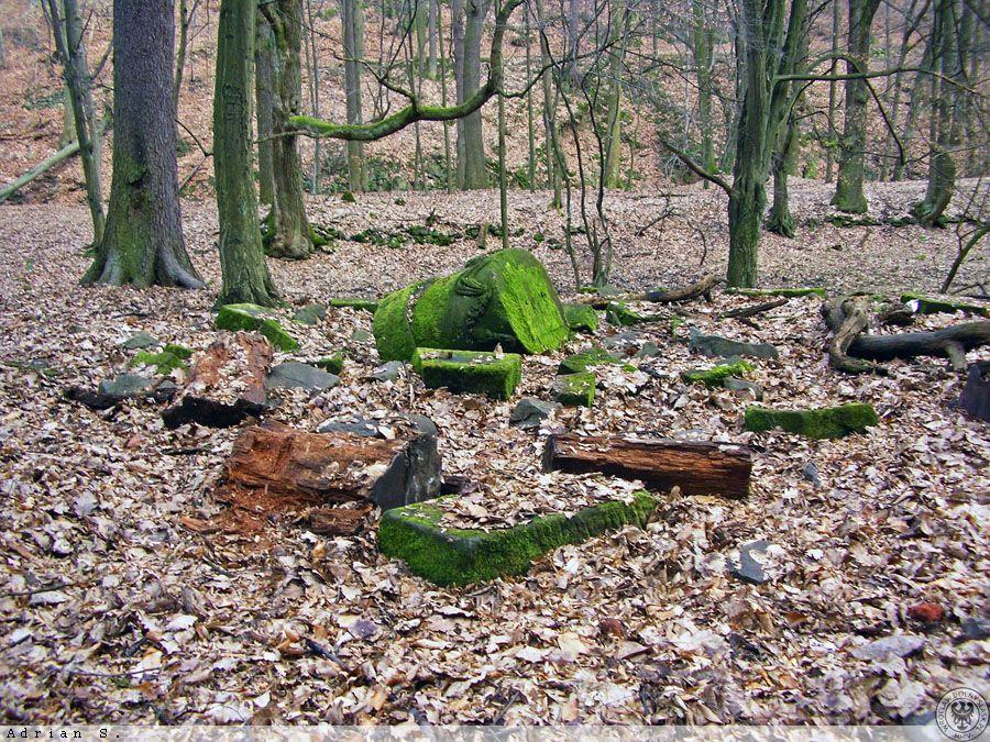 Die Überreste der Grabstätte der verstorbenen Kinder der Familie Hochberg – Vergessene Orte und Plätze in Niederschlesien – Autor: Adrian Sitko