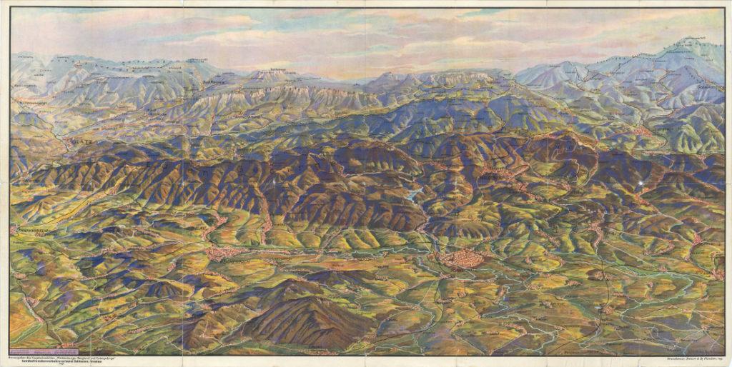 Panoramaansicht des Eulengebirges und des Waldenburger Berglandes aus dem Jahre 1937