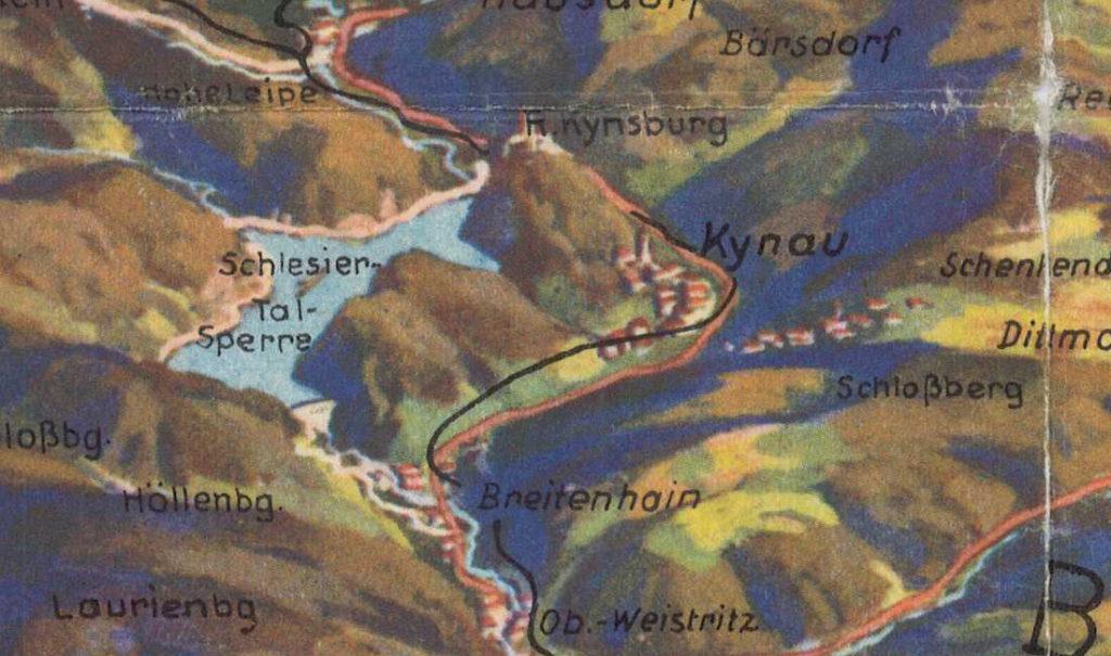 Die Bergspitzen des Eulengebirges und Waldenburgs – Kynau, und die Schlesiertalsperre sowie die bekannte Kynsburg
