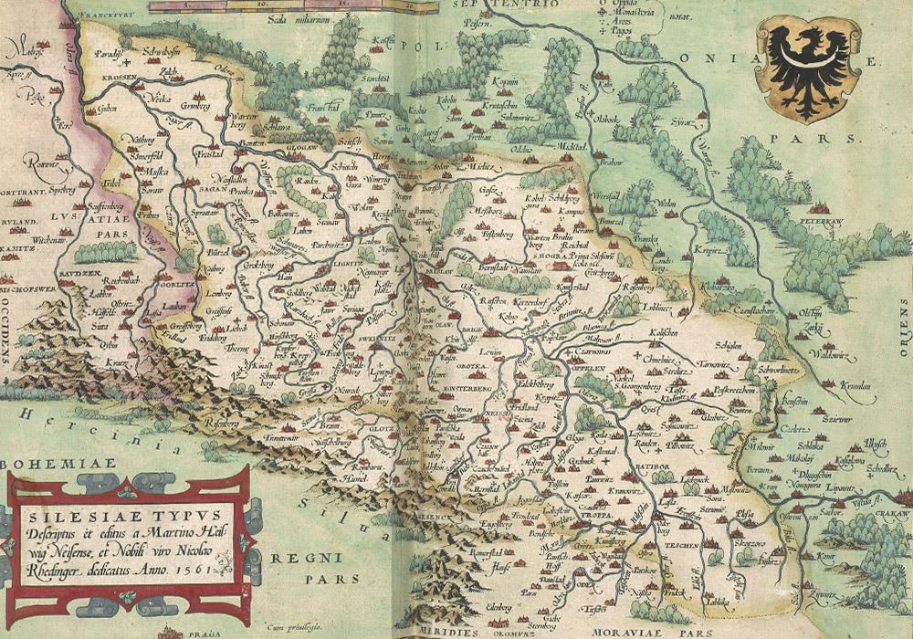 Alte Karte von Schlesien von 1561