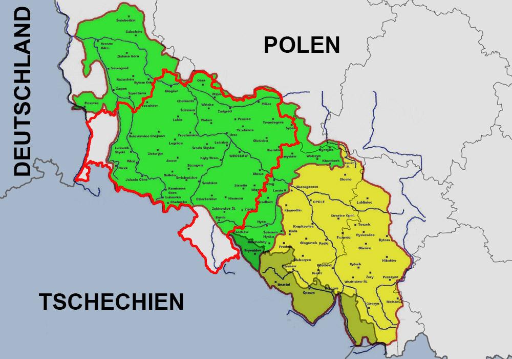 Das Gebiet des geschichtlichen Niederschlesiens ist grün gekennzeichnet, gelb Oberschlesien und in rot gefasst die derzeitige Woiwodschaft Niederschlesien