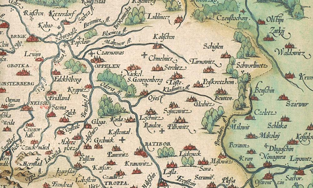 Schlesien Karte Heute.Eine Außergewöhnliche Alte Karte Von Schlesien Von 1561 E