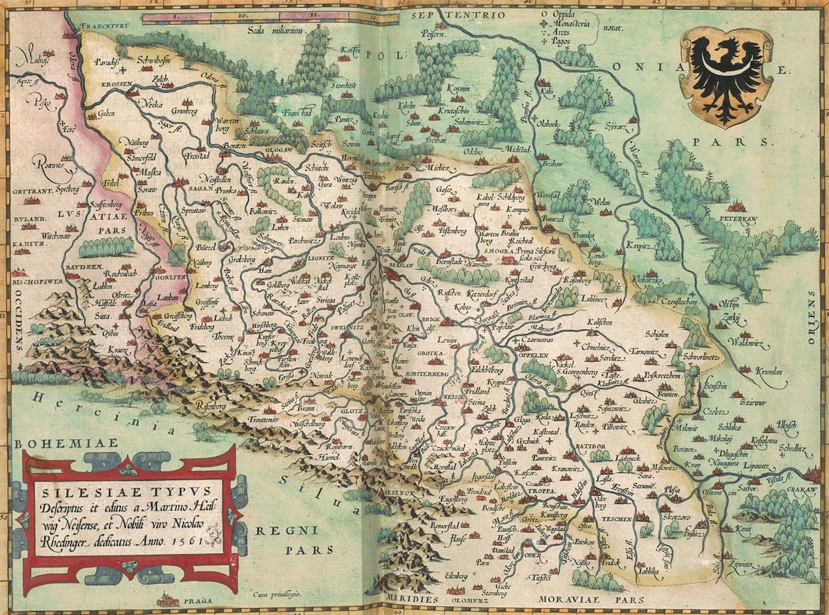 Schlesien Karte Deutsche Ortsnamen.Eine Außergewöhnliche Alte Karte Von Schlesien Von 1561 E