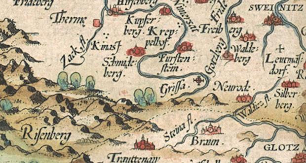 Risenberg (Riesengebirge), Waltzberg (Waldenburg), Sweinitz (Schweidnitz) auf der alten Landkarte von Schlesien
