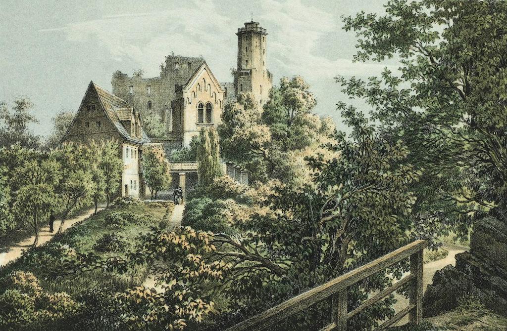 Ruine der Kynsburg (Burg Grodno) in Niederschlesien im 19. Jahrhundert