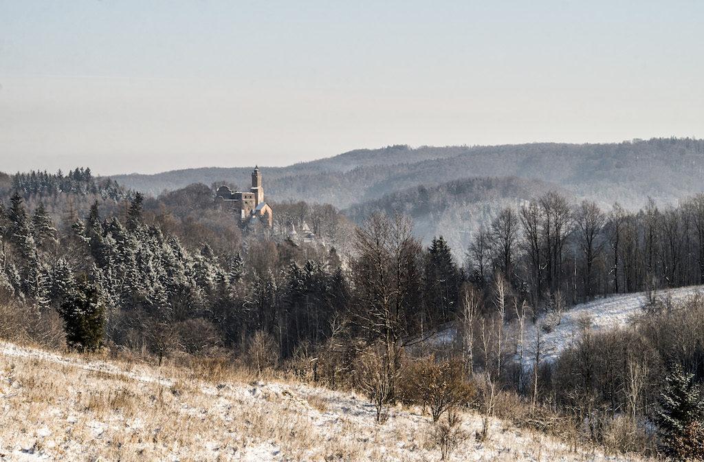 Blick auf die Kynsburg, im Hintergrund das Eulengebirge – Foto: Adrian Sitko