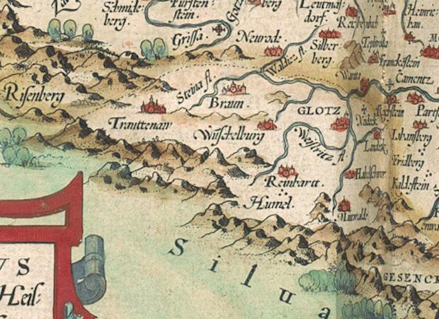 Grafschaft Glatz in der alten Karte von Schlesien