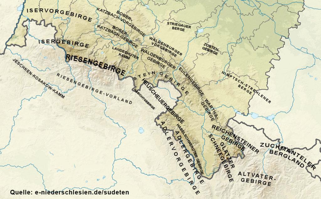 Sudeten in der Woiwodschaft Niederschlesien - Aufteilung der Sudeten in Bergketten - Kartengrundlage: Wikimedia / SANtosito