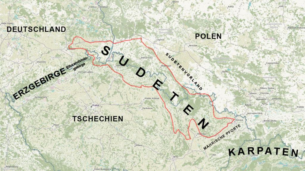 Lage der Sudeten – Sudeten auf der Karte von Polen, Tschechien und Deutschland – Karten-Backer: OpenStreetMap