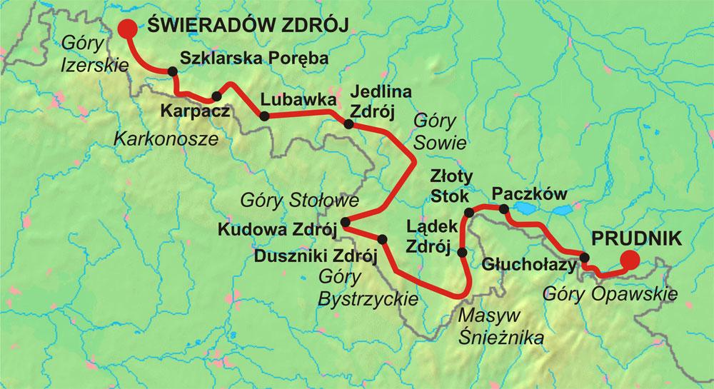 Der Verlauf des Sudetenwanderweges nach Dr. Mieczysław Orłowicz benannt – Autor: Radosław Botev Quelle: wikimedia.org