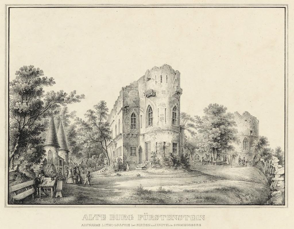 Im 19. Jahrhundert diente die Alte Burg Fürstenstein als romantische Ruine, die ein beliebtes Ausflugsziel für damalige Touristen war