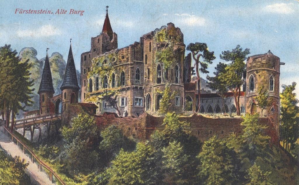 """Stilisierte """"Ruinen"""" der alten Burg auf einer Postkarte aus dem 20. Jahrhundert – Quelle: polska-org.pl"""