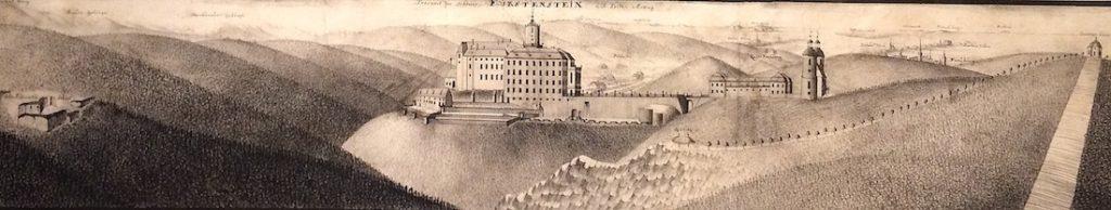 Grafiken der neuen und alten Burg – Auf der linken Seite sehen Sie die Ruinen der ersten mittelalterlichen Burg – Sammlungen: Nationalmuseum in Breslau