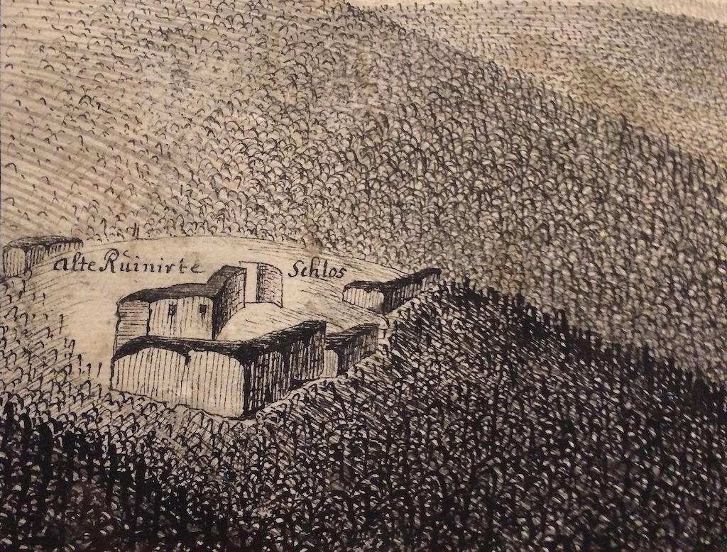 Die Ruinen der ersten mittelalterlichen Burg, auf denen sich die künstlichen Ruinen des alten Fürstenstein Schloßes befanden, wurden im 18. Jahrhundert erbaut – Sammlungen: Nationalmuseum in Breslau