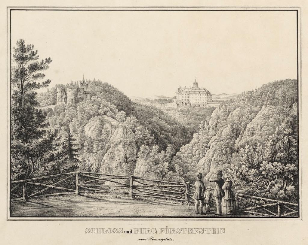 Alte Burg Fürstenstein (links) und neues Schloss Fürstenstein (rechts) auf einer Lithographie aus der Mitte des 19. Jahrhunderts